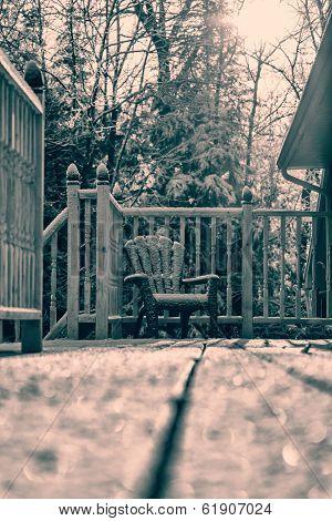 Snow Covered Muskoka Chair - Retro
