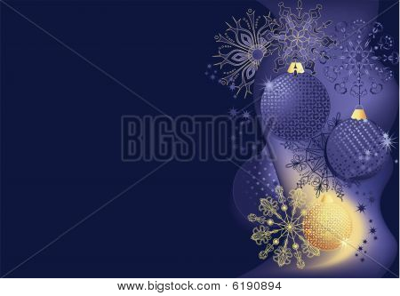 Blue And Gold Christmas Background.