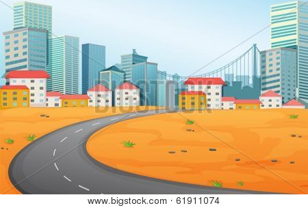 Illustration of a narrow road going to the city