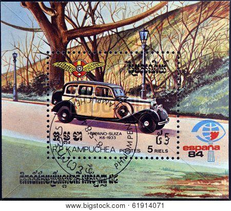 CAMBODIA - CIRCA 1984: A stamp printed in Cambodia shows a car Hispano Suiza 1933 circa 1984