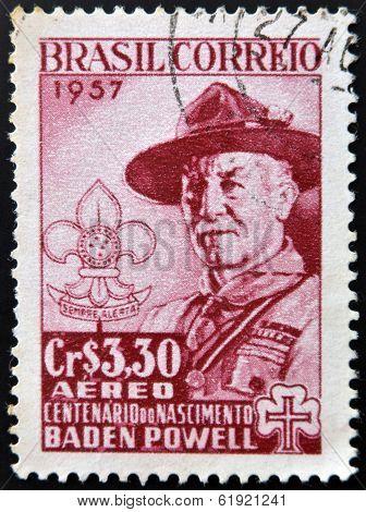 BRAZIL - CIRCA 1957: A stamp printed in Brazil shows Robert Baden-Powell (1857-1941) circa 1957