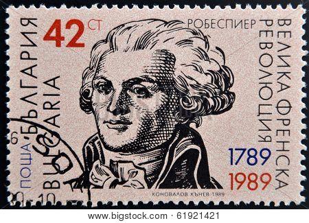 BULGARIA - CIRCA 1989: stamp printed in Bulgaria dedicated to Maximilien Robespierre