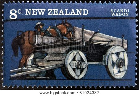 NEW ZEALAND - CIRCA 1976: stamp printed in New Zealand shows Farm Vehicles Scandi wagon circa 1976