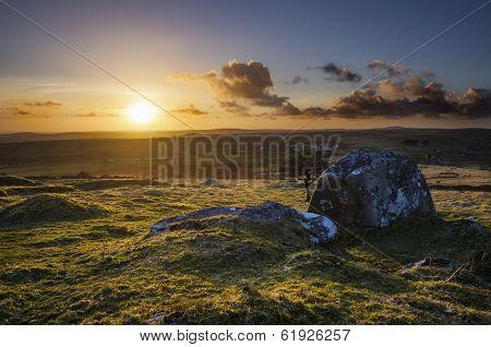 Sunset at Caradon Hill in springtime