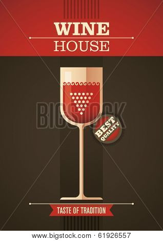 Wine house poster. Vector illustration.