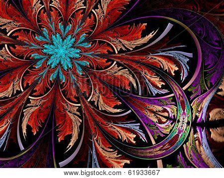 Dark Colorful And Blue Fractal Flower