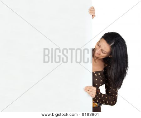 Attractive Girl With Blank Poster