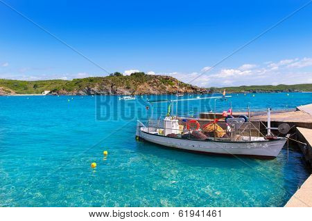 Menorca Es Grau clean port with llaut boats in Balearic Islands