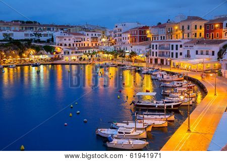 Calasfonts Cales Fonts Port sunset in Mahon at Balearic islands poster