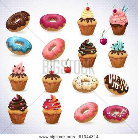 Super cake pack. Chocolate and vanilla desserts. Cupcake, donut and cherry