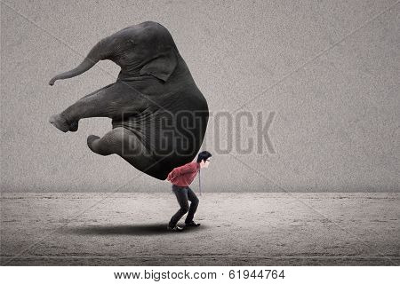 Businessman Carry Elephant On Grey - Leadership Concept
