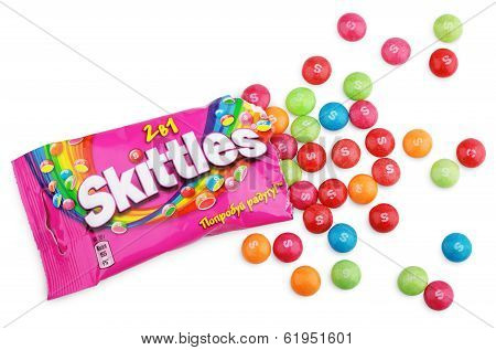Unwrapped Skittles Candy