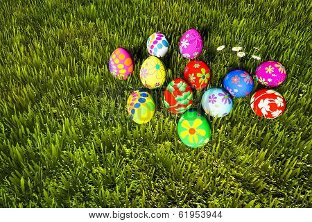 Colorful Easter Eggs In Green Grass