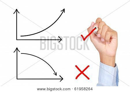 A man Drawing graph growing on whiteboard poster