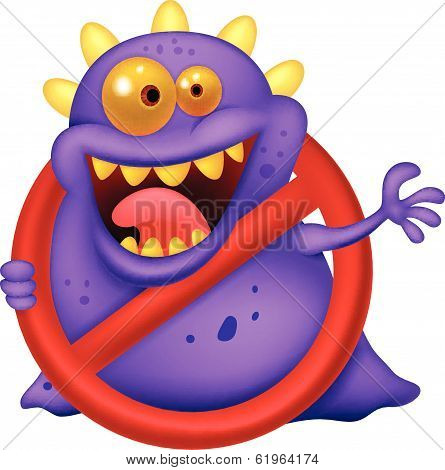 Cartoon Stop virus - purple virus in red alert sign