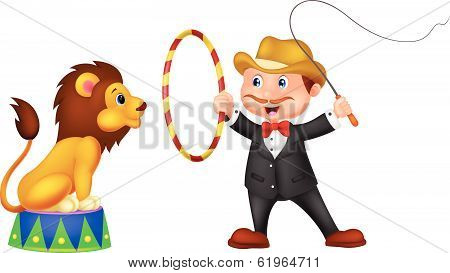 Cartoon Lion Tamer with lion