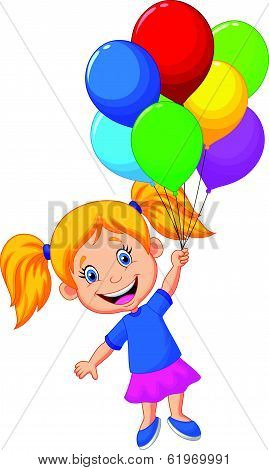 Young girl cartoon flying with balloon