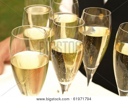 Champagne carried on plate