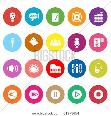 Music Flat Icons On White Background