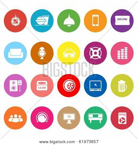 Home Theater Flat Icons On White Background