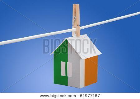 Ireland flag on paper house