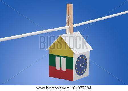 Lithuania, Lithuanian and EU flag on paper house