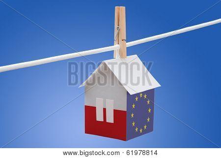 poland, polish and EU flag on paper house