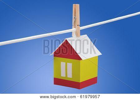 Spain, Spanish flag on paper house