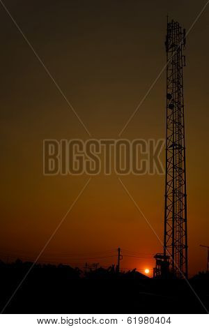 Broadcast Tower Silhouette