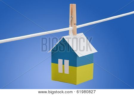 Ukraine, Ukrainian flag on paper house