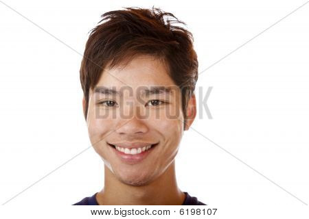 Portrait of Young Happy handsome Asian Student