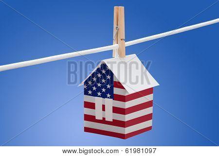 USA flag on paper house