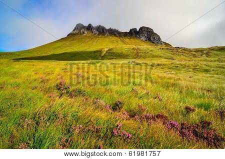 Scenic View Of Inverpolly Mountain Peak Stack Pollaidh In Scotland