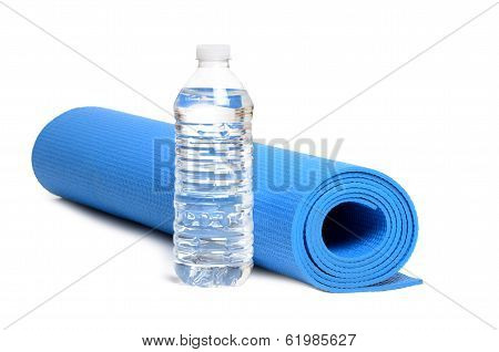 Yoga mat and bottled water