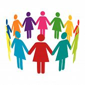 A circle of colourful women holding hands. poster
