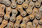 Old rusty chain from the bicycle closeup poster