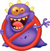 Cartoon Stop virus - purple virus in red alert sign poster