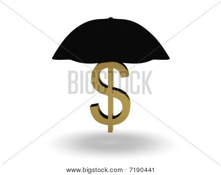 umbrella and dollar symbol