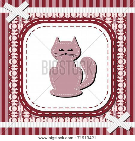 frame with lace and nice cat vector illustration poster