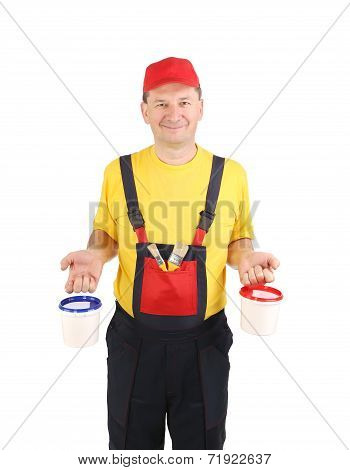 Worker in hat with paint buckets.
