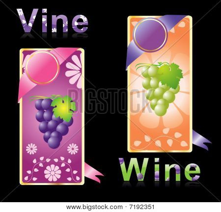 two winy labels,vector