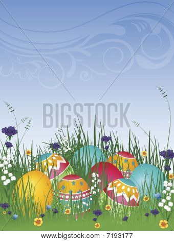Easter Eggs On Grass 02