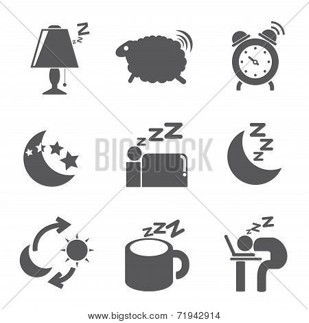 sleep and bed time icons