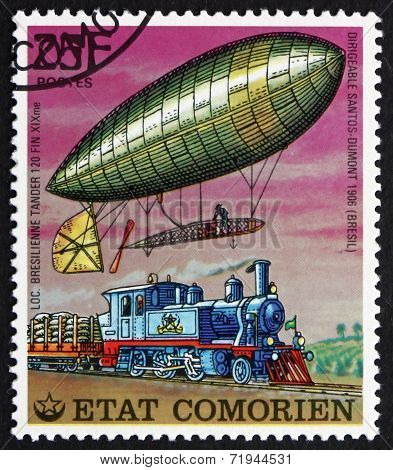 Postage Stamp Comoros 1977 Airship And Locomotive