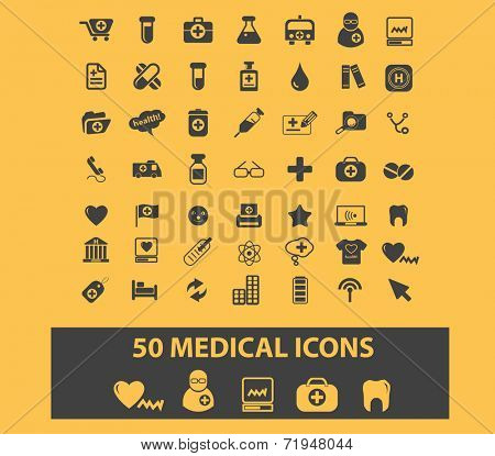50 medical, doctor, hospital, healthcare icons, signs, illustrations, silhouettes set, vector