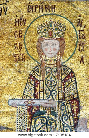 Empress Irene is offering a scroll mosaic from Hagia Sofia in Istanbul Turkey poster