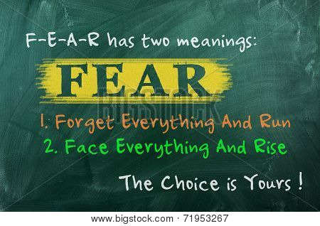 FEAR acronym concept of bravery choice in life poster