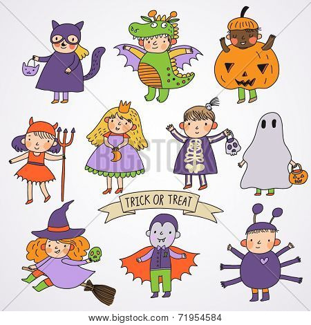 Cute cartoon children in Halloween costumes: Princess, ghost, pumpkin, spider, dragon, devil, witch, vampire, cat