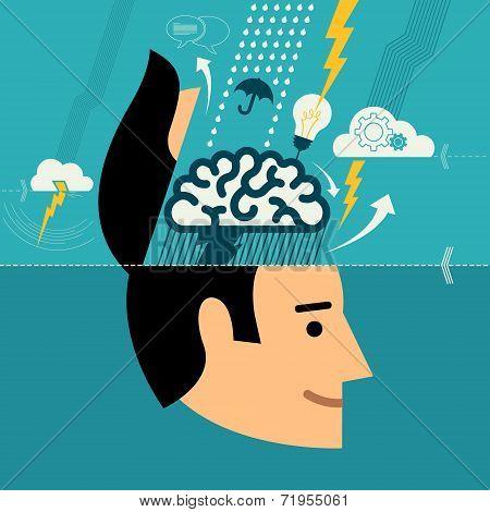 Flat design vector illustration concept for creative brainstorming process, web design & development
