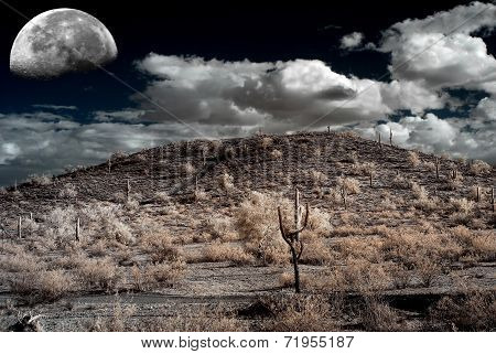 Moon Desert storm over the southwestern desert and mountains poster